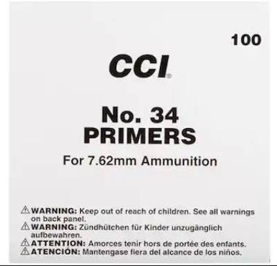 NO 34 PRIMER FOR 7.62MM 100RD