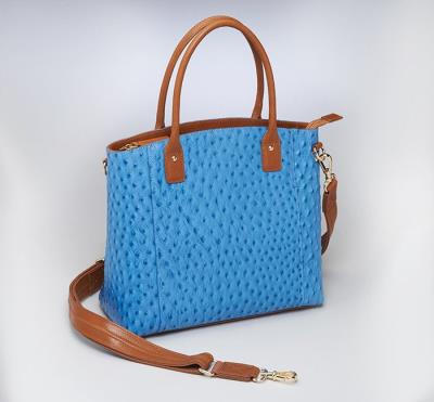 Town Tote Blue Ostrich Patter