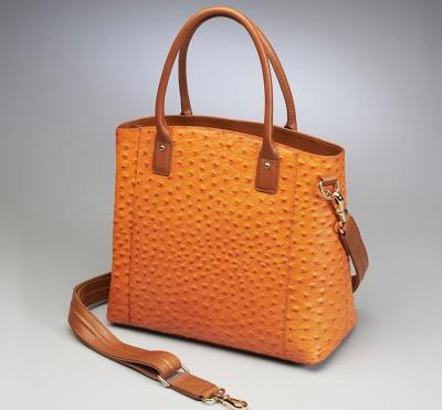 Town Tote Orange Ostrich Patte