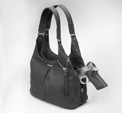 Pleatd Slouch Bag Black 12""